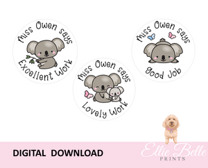 Cute Koala - Personalised Digital Teacher Reward Stickers