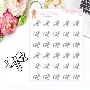 Bow Paper Clip Icons - Doodle Heart Icons