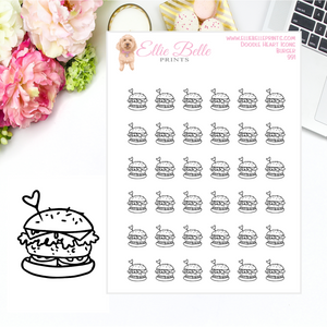 Burger Icons - Doodle Heart Icons