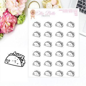 Taco Icons - Doodle Heart Icons