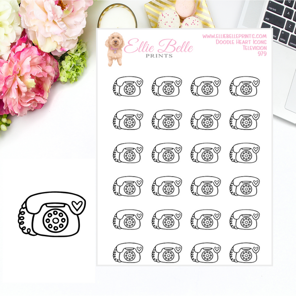 Telephone Icons - Doodle Heart Icons