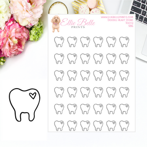 Tooth Icons - Doodle Heart Icons