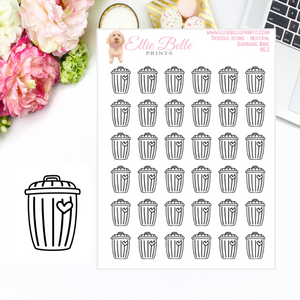 Garbage Bin - Neutral Doodle Icons