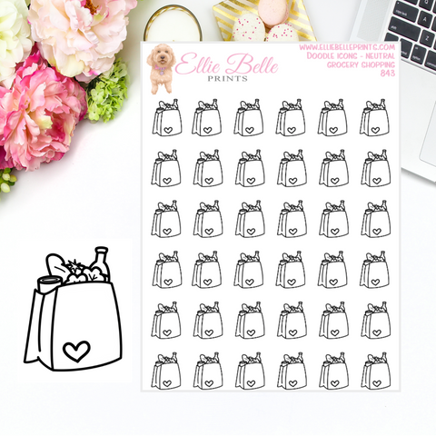 Grocery Bag - Neutral Doodle Icons