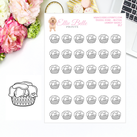 Laundry Basket - Neutral Doodle Icons