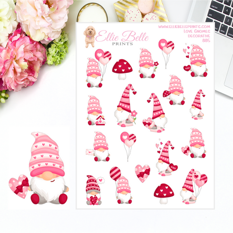 Pink Gnome Stickers for Valentine's Day