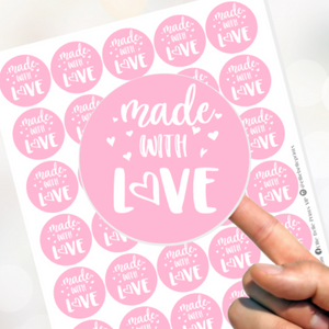 Made With Love Stickers - Pink