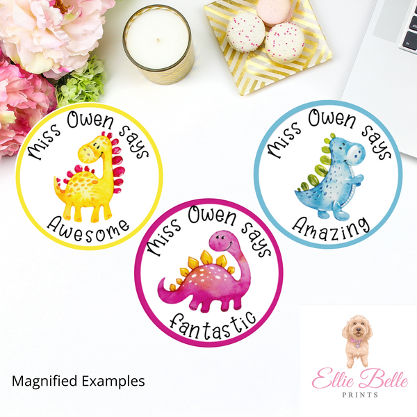 Dinosaurs - Personalised Teacher Reward Stickers