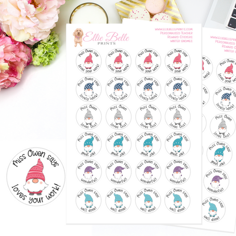 Winter Gnomes - Personalised Teacher Reward Stickers