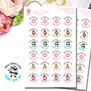 Donut Give Up - Personalised Teacher Reward Stickers