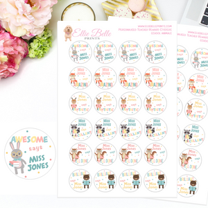 School Animals - Personalised Teacher Reward Stickers