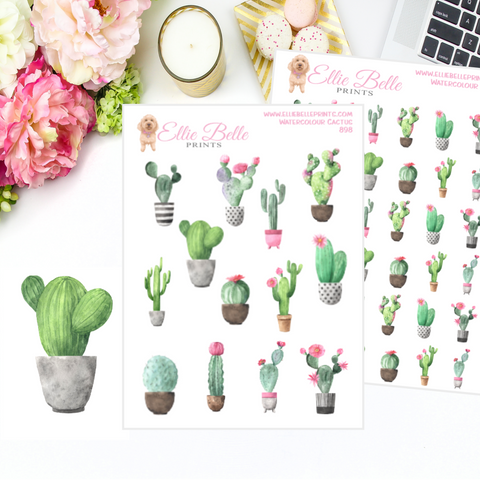 Watercolour Cactus Stickers