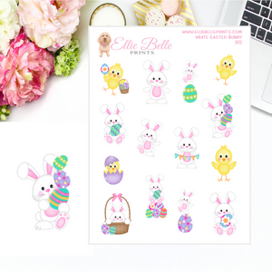 White Easter Bunny Stickers