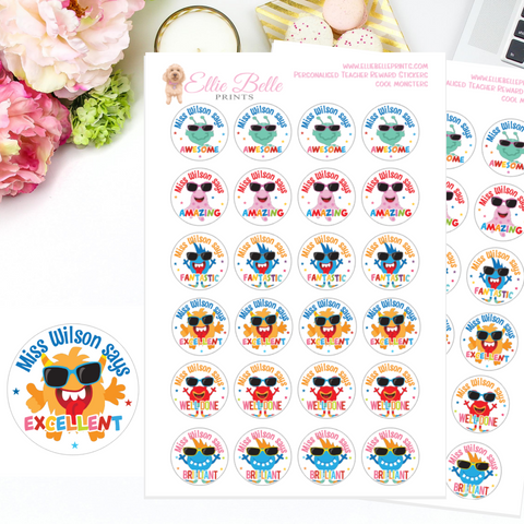 Cool Monsters - Personalised Teacher Reward Stickers