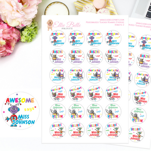 Robots 3 - Personalised Teacher Reward Stickers
