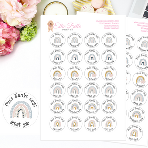 Scandi Rainbows - Personalised Teacher Reward Stickers