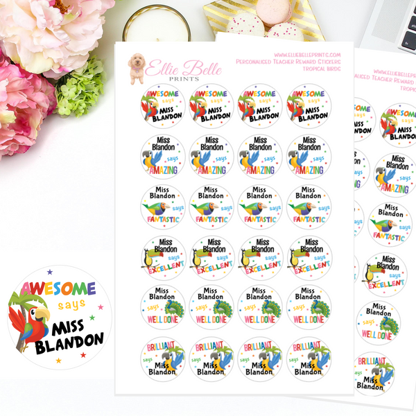 Tropical Birds - Personalised Teacher Reward Stickers