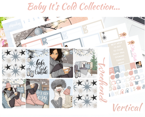 OLD PAPER - Baby It's Cold - Vertical Weekly Planner Kit