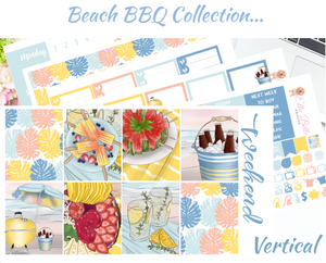 OLD PAPER - Beach BBQ- Vertical Weekly Planner Kit