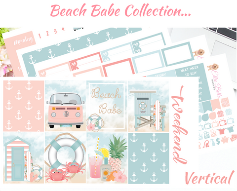 OLD PAPER - Beach Babe - Vertical Weekly Planner Kit