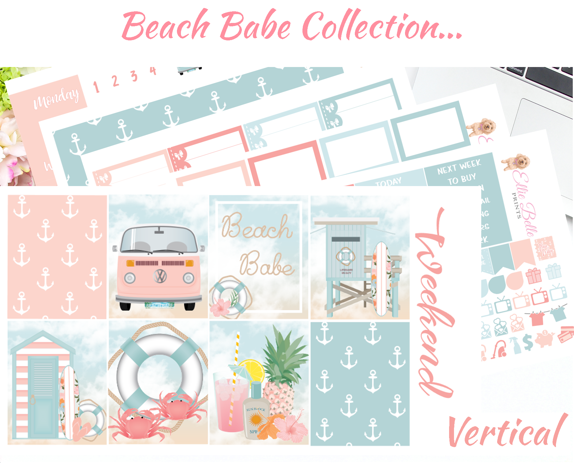 Beach Babe - Vertical Weekly Planner Kit