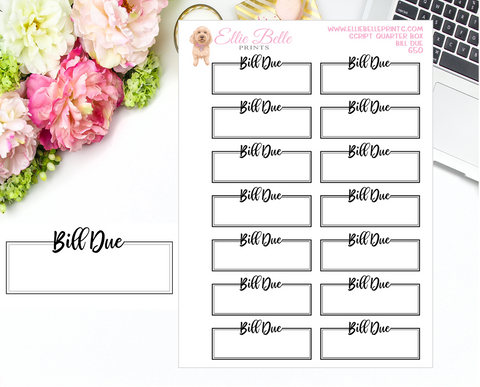 Bill Due Quarter Box with Text - Text Boxes