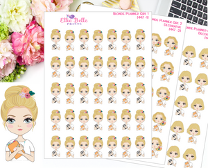 Blonde Planner Girl Stickers