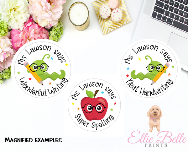 Bookworm - Personalised Teacher Reward Stickers