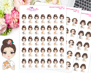 Brown Planner Girl Stickers