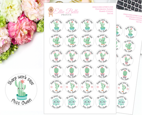 Cactus - Personalised Teacher Reward Stickers