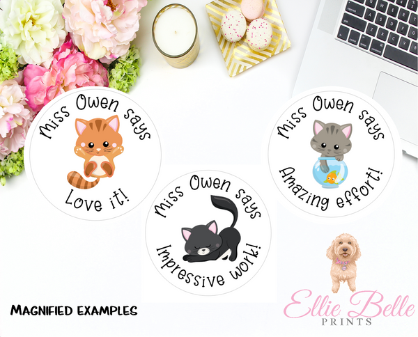 Cats - Personalised Teacher Reward Stickers