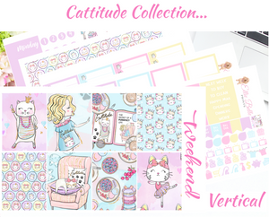 OLD PAPER - Cattitude - Vertical Weekly Planner Kit
