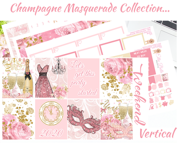 Champagne Masquerade - Vertical Weekly Planner Kit