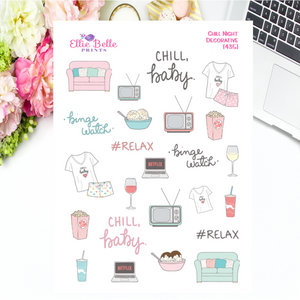 Chill Night Decorative Planner stickers include binge watch, #relax, pj's, popcorn, tv's