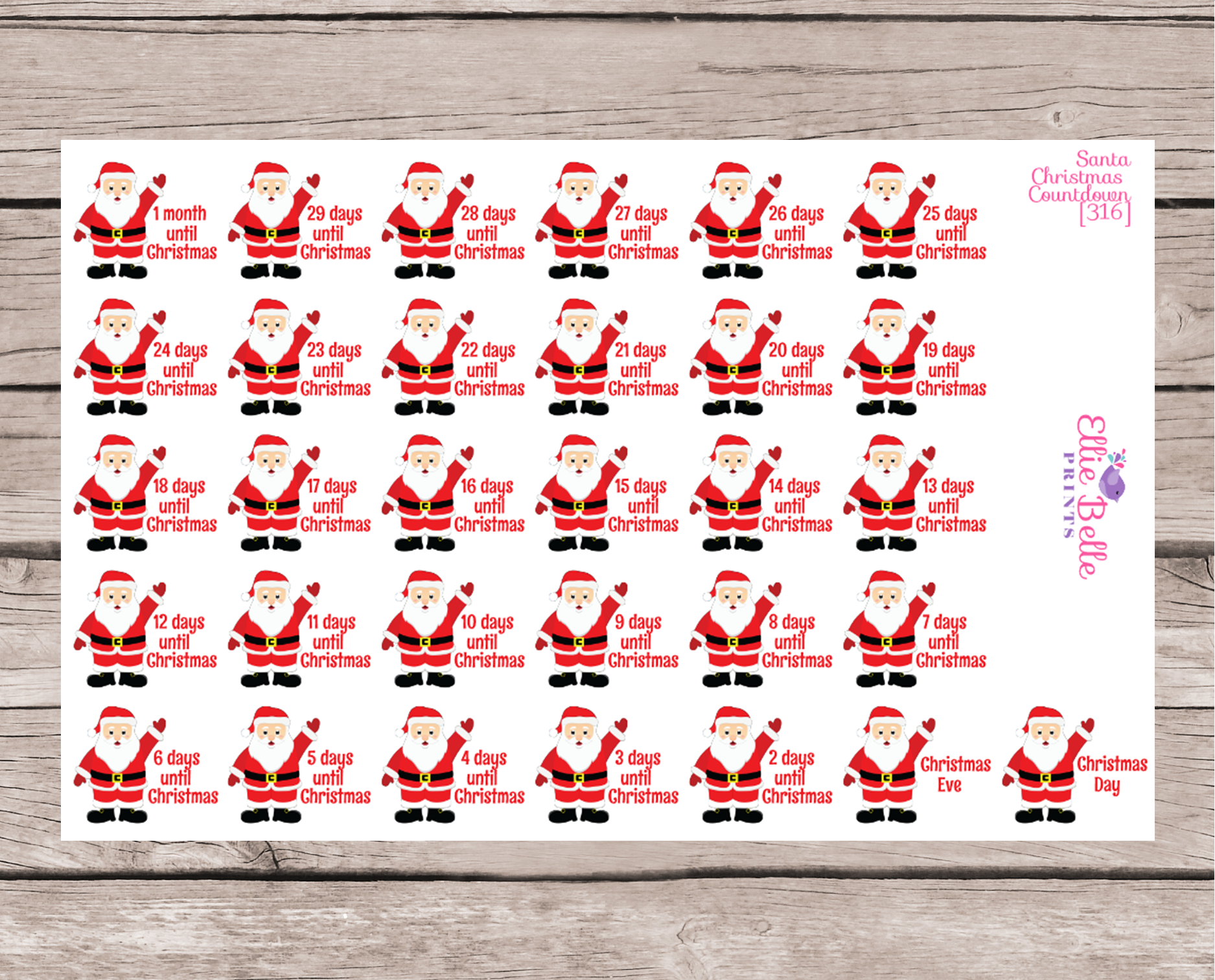 Santa Christmas Countdown Stickers [316]