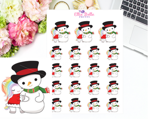 Snowman Stickers - Christmas Unicorn Collection