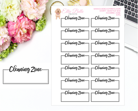 Cleaning Zone Quarter Box with Text - Text Boxes