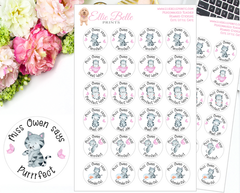 Cute Little Cats - Personalised Teacher Reward Stickers