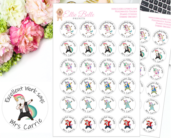 Dabbing Unicorn 1 - Personalised Teacher Reward Stickers