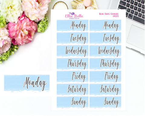 Date Cover Stickers - 2 Weeks - Blue Watercolour