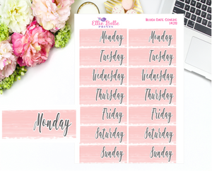 Date Cover Stickers - 2 Weeks - Blush Watercolour