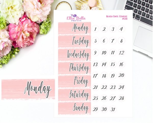 Date Cover Stickers - Blush Watercolour