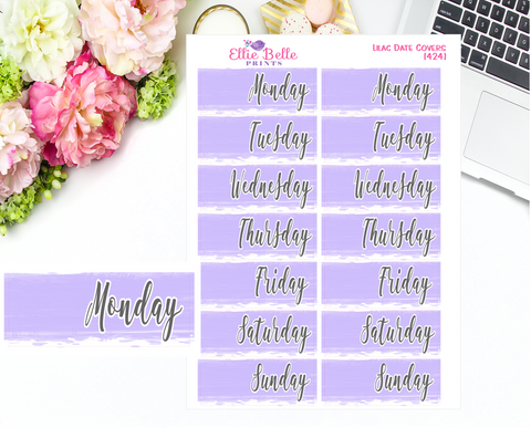 Date Cover Stickers - 2 Weeks - Lilac Watercolour
