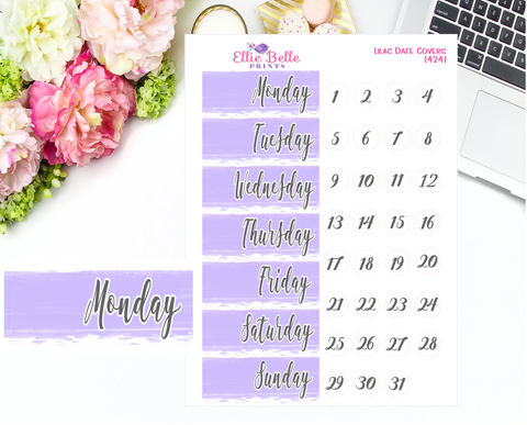 Date Cover Stickers - Lilac Watercolour