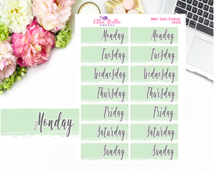 Date Cover Stickers - 2 Weeks - Mint Watercolour