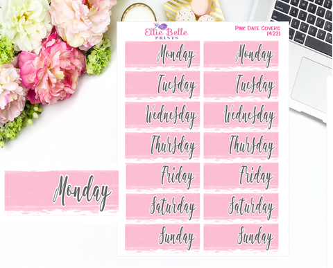 Date Cover Stickers - 2 Week - Pink Watercolour