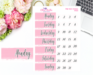 Date Cover Stickers - Pink Watercolour