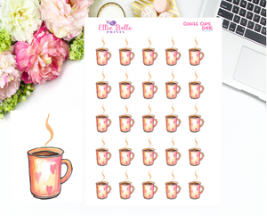 Coffee Cups with Hearts Stickers