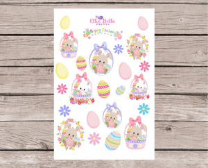 OLD PAPER - Easter Bunnies Pink Decorative Stickers