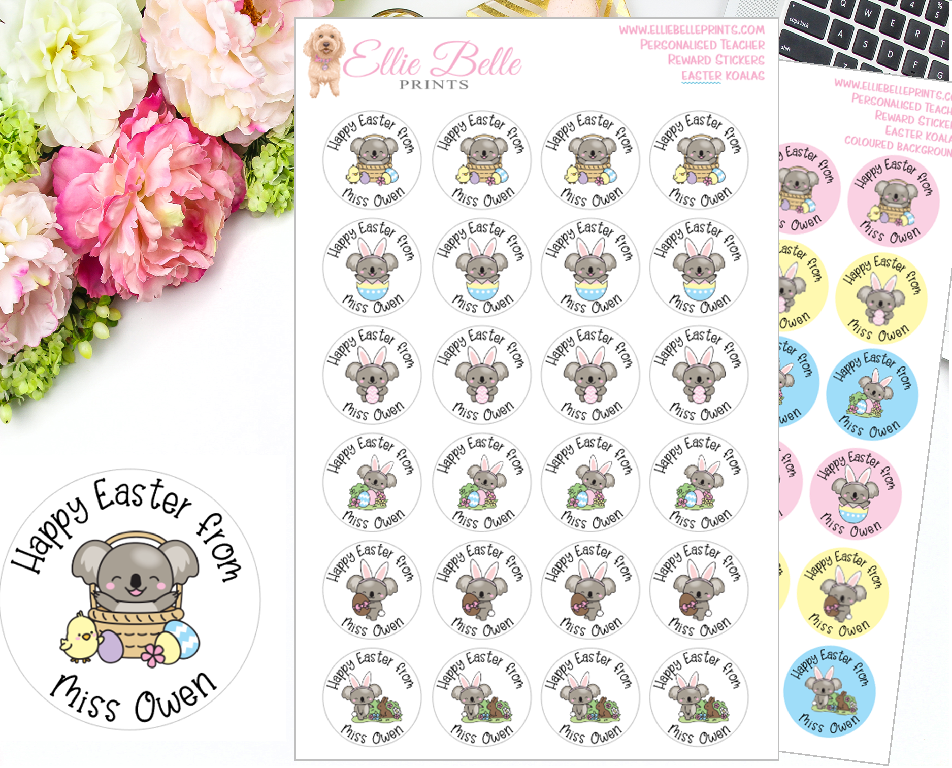 Easter Koala - Personalised Teacher Reward Stickers